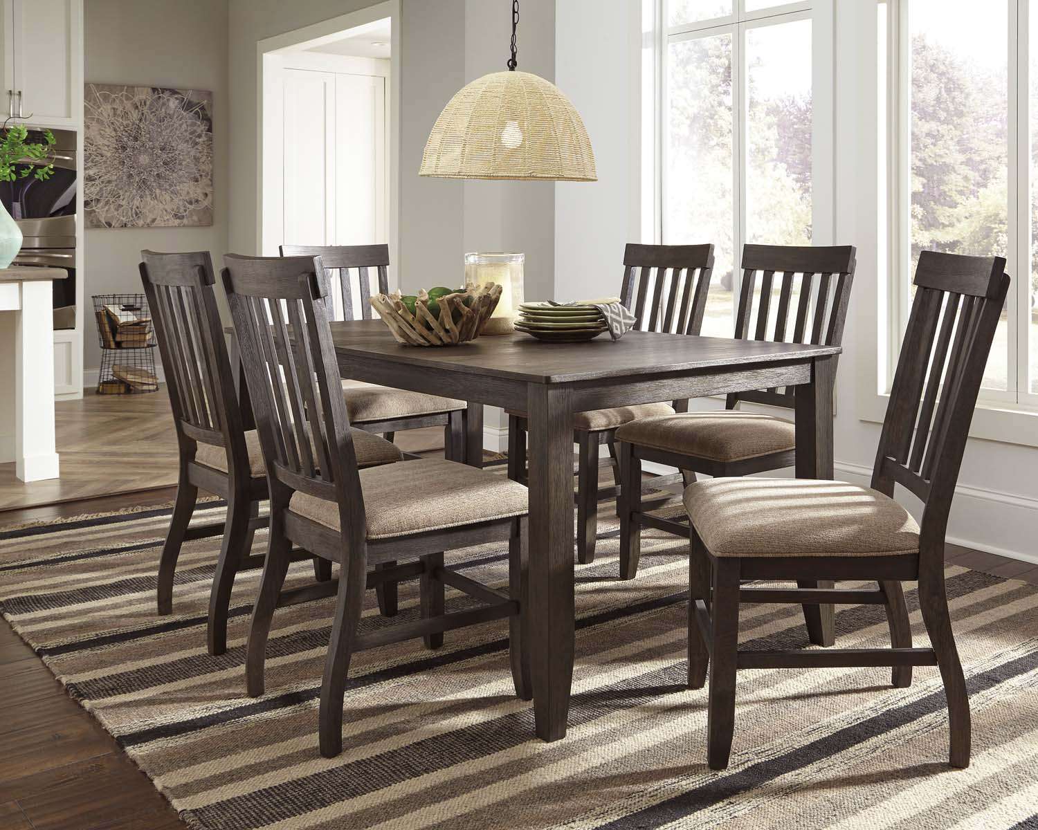 Dresbar   Grayish Brown 7 Piece Dining Room Set