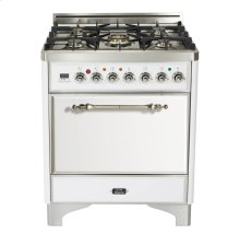 "Antique White with Brass trim 30"" Majestic Solid Door 5 Burner Gas Range"