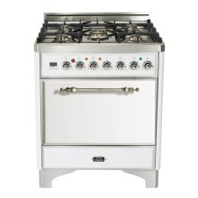 "Antique White with Chrome trim 30"" Majestic Solid Door 5 Burner Gas Range"