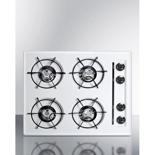 "Summit 24"" Wide Cooktop In White, With Four Burners and Battery Start Ignition; Replaces Wtl03p"