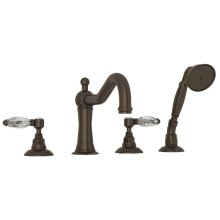 Tuscan Brass Acqui 4-Hole Deck Mount Column Spout Tub Filler With Handshower with Crystal Lever