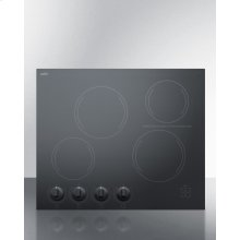 "24"" Wide 4-burner Radiant Cooktop Made In France With Black Ceramic Glass Surface"