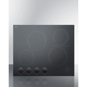 "Summit24"" Wide 4-burner Radiant Cooktop Made In France With Black Ceramic Glass Surface"