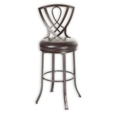 Lincoln Metal Counter Stool with Chocolate Upholstered Swivel-Seat and Brown Crystal Frame Finish, 26-Inch