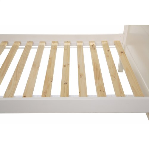 Casey Complete Wood Daybed with Ball Finials and Roll Out Trundle Drawer, White Finish, Twin