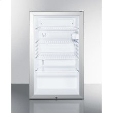 """Commercially Listed ADA Compliant 20"""" Wide Glass Door All-refrigerator for Freestanding Use, Auto Defrost With A Lock and White Cabinet"""