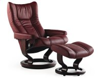 Stressless Wing Small Classic Base Chair and Ottoman Product Image