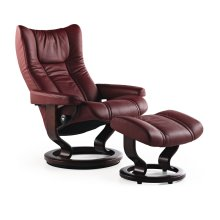 Stressless Wing Medium Classic Base Chair and Ottoman