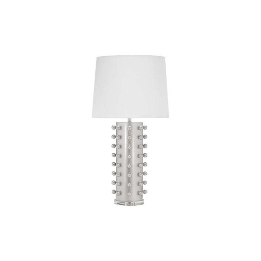 "Ball Studded Table Lamp In Silver Leaf With 15"" Diameter White Linen Shade Ul Approved for One 60 Watt Bulb"