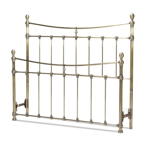 Leighton Metal Headboard and Footboard Bed Panels with Straight-Lined Spindles and Scalloped Castings, Glazed Brass Finish, Full