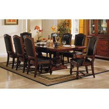 """9PC SET (100"""" Trestle Table with 6 Side Chairs and 2 Arm Chairs)"""