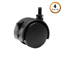 Black Screw-In Locking Rug Roller Caster Legs, 4-Pack