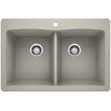 Blanco Diamond Equal Double Bowl With Ledge - Concrete Gray