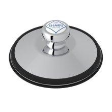 Polished Chrome Shaws Disposal Stopper With Shaws Logo Branded White Porcelain Pull Knob