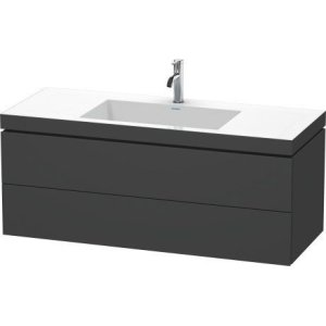 Furniture Washbasin C-bonded With Vanity Wall-mounted, Graphite Matt (decor)