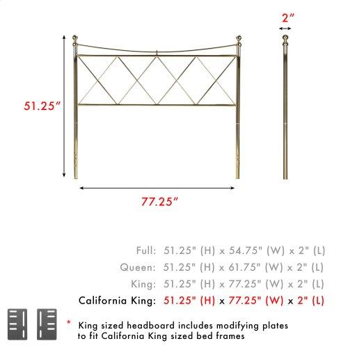 Lennox Metal Headboard Panel with Diamond Pattern Design and Downward Sloping Top Rail, Classic Brass Finish, California King