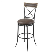 Boise Swivel Seat Counter Stool with Charcoal Finished Metal Frame, Wood Stain Seatback and Cocoa Faux Leather Upholstery, 26-Inch Seat Height
