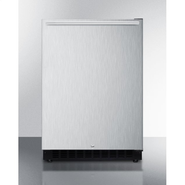 Summit Built-in Undercounter ADA Compliant All-refrigerator With Wrapped Stainless Steel Exterior, Horizontal Handle, Door Storage, and Digital Controls