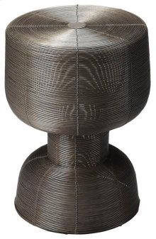 Solid and sexy, the transitional wire accent table is a magnificent sculptural pice in the living room or family room. A perfect combination of form and function, the light and airy piece is crafted of iron. As welcoming to a wine glass as it is to books