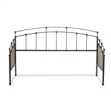 Fenton Metal Daybed Frame with Spindle Panels and Finial Globe Castings, Black Walnut Finish, Twin