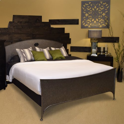 Barrington Metal Bed with Industrial Circular Designed Headboard and Footboard, Silver Bisque Finish, King