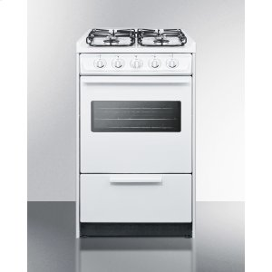 "Summit20"" Wide Slide-in Gas Range In White With Sealed Burners, Oven Window, Light, and Electronic Ignition; Replaces Wnm114rw/wtm1107swrt"