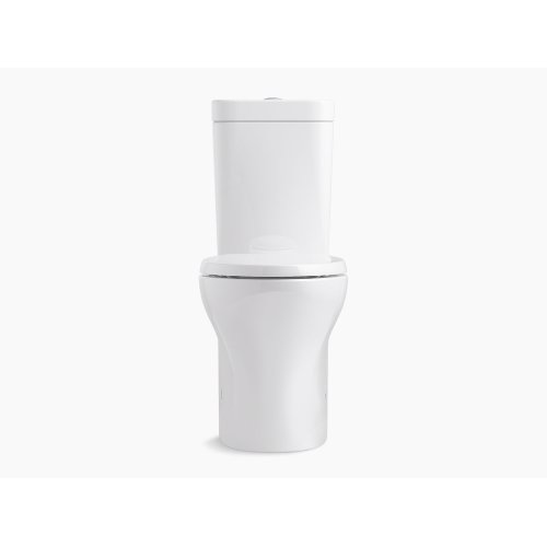White Comfort Height Two-piece Elongated Dual-flush Toilet With Top-mount Actuator and Skirted Trapway, Seat Not Included