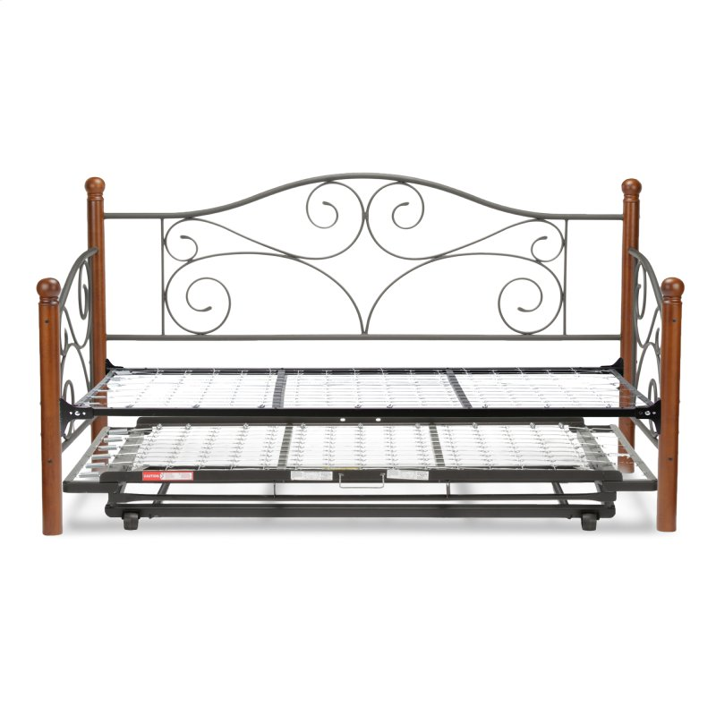 Doral Complete Metal Daybed With Link Spring And Trundle Bed Pop Up Frame Matte