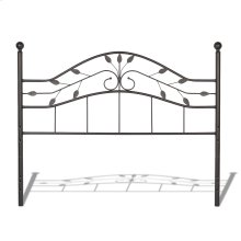 Sycamore Metal Headboard Panel with Leaf Pattern Design and Round Final Posts, Hammered Copper Finish, Twin