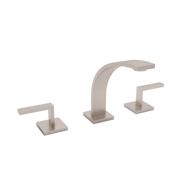 Satin Nickel Wave High Neck Widespread Lavatory Faucet with Metal Lever