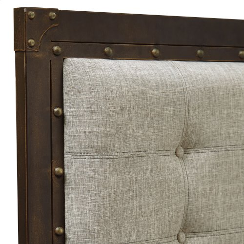 Gotham Bed with Dark Latte Upholstered Metal Panels and Antique Industrial Studs, Brushed Copper Finish, King