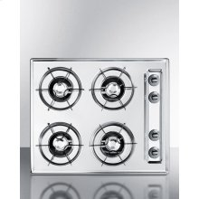 """24"""" Wide Cooktop In Brushed Chrome, With Four Burners and Battery Start Ignition; Replaces Ztl03p"""
