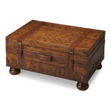 Laminated old world map surface with glaze and lacquer. Geuine leather appointments. Center storage drawer.