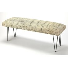 This fun modern upholstered bench will add casual sophistication to most any space. Its henna-inspired rectangular cotton upholstered seat features neutral hues of ivory and black supported by iron hairpin legs.