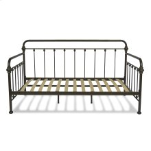 York Complete Metal Daybed with Curved Rails and Straight Spindles, Burnished Umber Finish, Twin