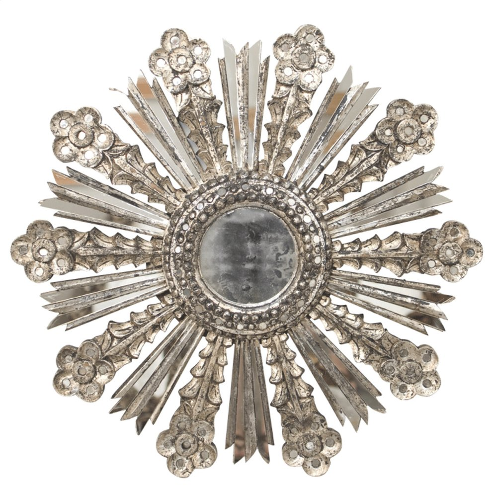 Champagne Silver Leaf Starburst Mirror W. Antique Mirror Insets