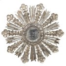 Champagne Silver Leaf Starburst Mirror W. Antique Mirror Insets Product Image