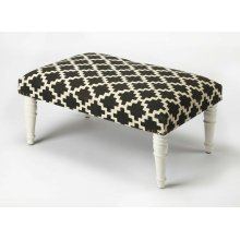 Use this elegantly stylish ottoman as a seat or as a footstool in your living or entertainment area. With its substantial surface area, it can also be used as a coffee table. Its Mango wood solids legs support a stylish, upholstered urethane foam and cott