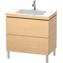 Furniture Washbasin C-bonded With Vanity Floorstanding, Brushed Oak (real Wood Veneer)