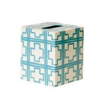 Kleenex Box Cream W. Turquoise SQUARES.
