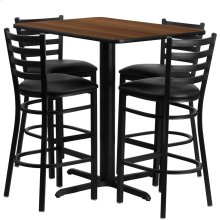 24''W x 42''L Rectangular Walnut Laminate Table Set with 4 Ladder Back Metal Barstools - Black Vinyl Seat