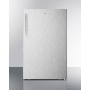 """SummitCommercially Listed 20"""" Wide Built-in Refrigerator-freezer In Complete Stainless Steel With A Lock and Towel Bar Handle"""