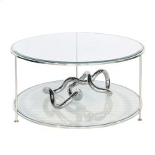 Nicel Plated Round Coffee Table With Beveled Glass Tops.