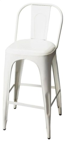 This vintage look barstool will add retro flair to your space. Forged from iron components, it boasts a stylish white finish.