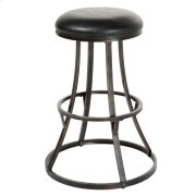 Dover Backless Swivel Seat Counter Stool with Blackened Bronze Finished Metal Frame and Black Faux Leather Upholstery, 26-Inch Seat Height Product Image