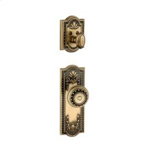 Grandeur - Single Cylinder Combo Pack Keyed Differently - Parthenon Plate with Parthenon Knob and Matching Deadbolt in Vintage Brass
