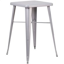 23.75'' Square Silver Metal Indoor-Outdoor Bar Height Table