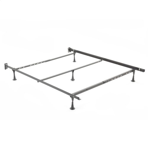 Restmore Adjustable Q45G Cross Support Bed Frame with Fixed Headboard Brackets and (5) Glide Legs, Full / Queen