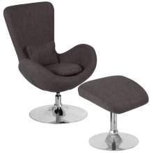 Dark Gray Fabric Side Reception Chair with Ottoman