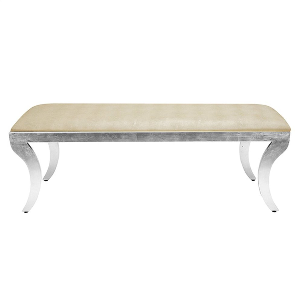 Klismos Bench Silver Leaf With Beige Shagreen Top